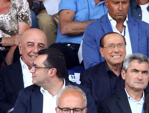 Berlusconi e Galliani in tribuna allo Speroni in occasione di Pro Patria-Monza