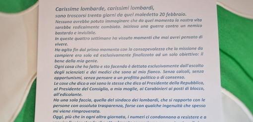 Fontana scrive a tutti i lombardi: «ll 20 febbraio la nostra vita è cambiata, siamo in guerra contro un nemico bastardo e invisibile»