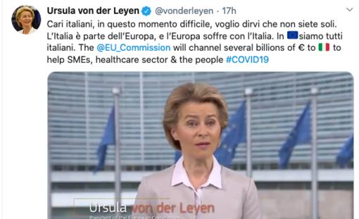 """Coronavirus: """"Siamo vicini all'Italia, in questo momento in Europa siamo tutti italiani"""" il messaggio della presidente della Commissione Ue, Ursula von der Leyen"""
