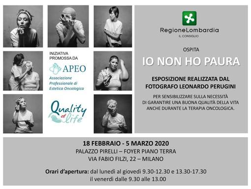 """""""Io non ho paura"""": domani a Palazzo Pirelli l'inaugurazione della mostra fotografica  dedicata alla storia di donne che lottano ogni giorno contro il cancro"""