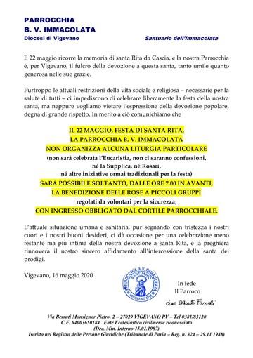 Vigevano, la parrocchia dell'Immacolata celebra Santa Rita