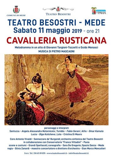 """Mede: """"La cavalleria rusticana"""" chiude la stagione lirica del Teatro Besostri"""