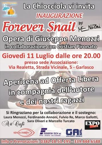 """L'artista garlaschese Beppe Menozzi presenta la sua nuova creazione """"Forever Snail"""" per beneficenza"""