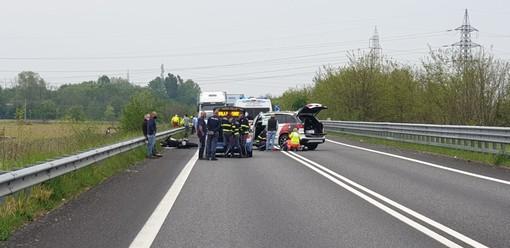 Marcallo: grave incidente sulla Boffalora-Malpensa, strada bloccata e motociclista ferito
