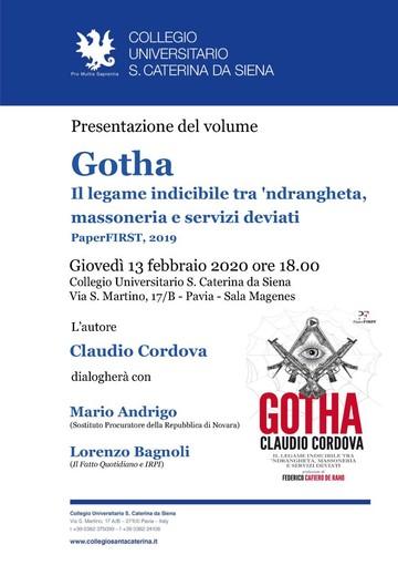 """Il 13 febbraio a Pavia la presentazione di """"Gotha"""": Cordova dialoga con il pm Andrigo, che indagò sul delitto Fortugno"""