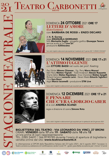 Broni: presentata la stagione teatrale del Carbonetti